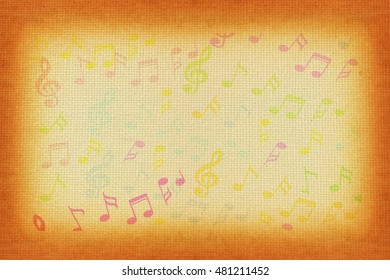 colorful Music notes on old paper background