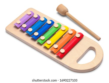 Colorful Musical Xylophone Isolated on White Background.