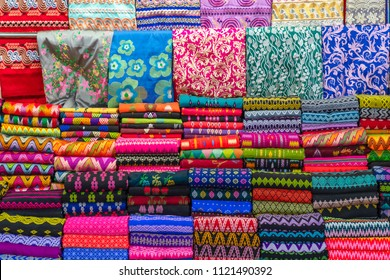 Colorful Myanmar Traditional Sarongs on Sale In Market