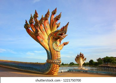 the colorful naga statue many heads with blue sky background