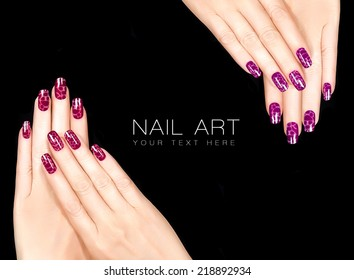 Colorful Nail Art. Trendy crackle nail polish in reds. Manicure and nail tattoo trend. Closeup of woman hands isolated on black background