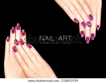 Colorful Nail Art Trendy Crackle Nail Stock Photo Edit Now