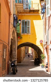 colorful narrow street in Nice on french riviera, cote d'azur, south France