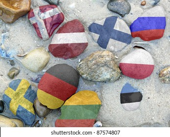 Colorful National flags of the nine Baltic sea states on stones