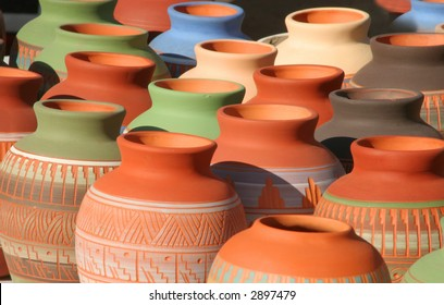 Colorful Native American themed pottery found in an outdoor market in Santa Fe, NM