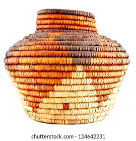 Colorful Native American Woven Pattern Basket