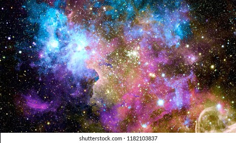 Colorful nebulas, galaxies and stars in deep space. Elements of this image furnished by NASA.