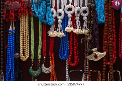 Colorful necklaces at the market