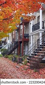 colorful neighborhood of montreal at fall