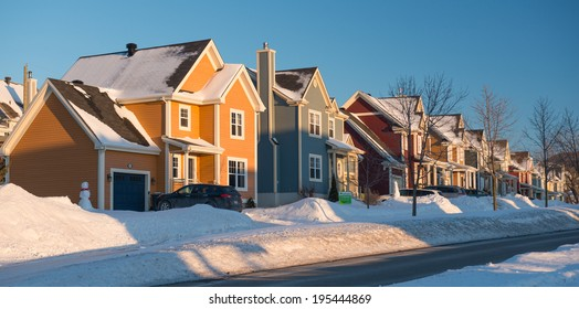 A colorful neighborhood in winter, Quebec, Canada