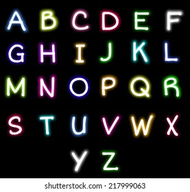 Colorful Neon alphabet