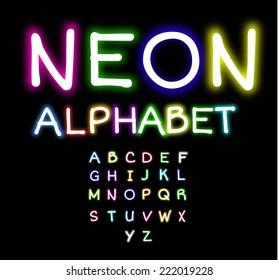 Colorful Neon alphabet