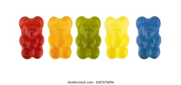 colorful neon gummy candies isolaten on white background