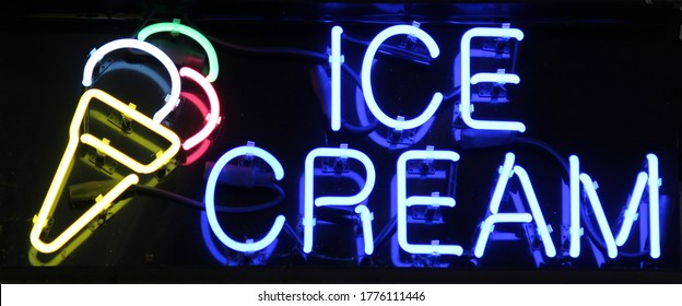 A colorful neon sign reading Ice Cream
