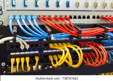 Colorful network cables in switch