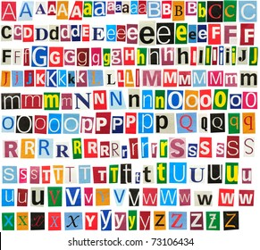 Colorful newspaper alphabet isolated on white