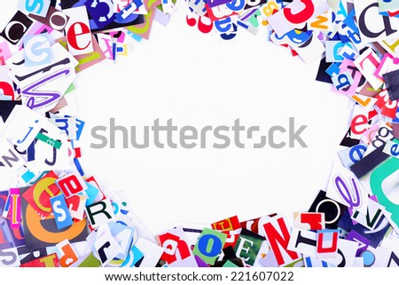 Colorful Newspaper Letters Shaped Frame Stock Photo (Edit Now ...