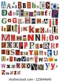 Colorful, newspaper, magazine alphabet