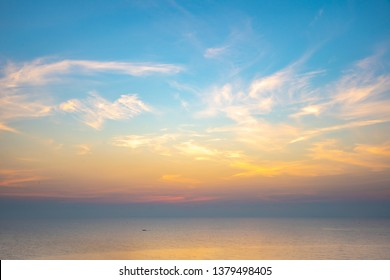 Colorful nice sky and ocean in sunrise time