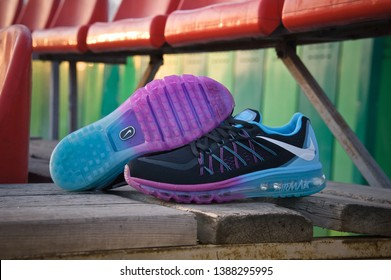 Colorful Nike Air Max 2015 running shoes, sneakers, trainers sole close up view, shot outdoors in warm sunlight at sunset. Sport and casual footwear concept. Krasnoyarsk, Russia - February 7, 2015