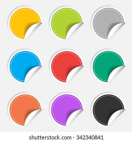 Colorful nine blank stickers set. Badge collection in red, blue, green, grey, black, yellow, orange and violet colors.