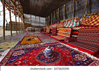 Colorful nomadic tent of Iranian nomadic people known as qashqai, in Iran.