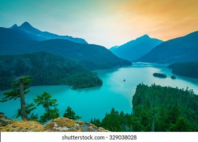 colorful of north cascade,scene over Diablo lake when sunset  in North Cascade national park,Wa,Usa
