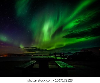 Colorful Northern lights (Aurora borealis) in the sky in iceland