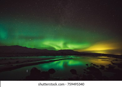 Colorful northern lights, Aurora Borealis in the sky