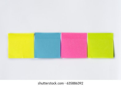 Colorful note paper or note post on white background