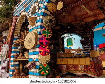 Colorful nubian market in Aswan Egypt