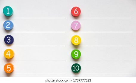 Colorful number blocks with rules between them. Can be used for illustration of ordered list.