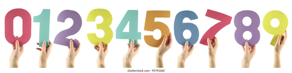Colorful numbers isolated on white