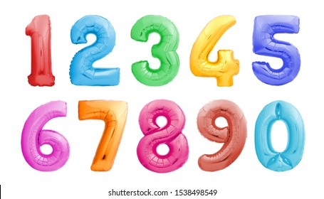 Colorful numbers from one 1 to zero 0 made of inflatable balloons isolated on white background. Colorful helium balloons forming full number set from 1 to 0