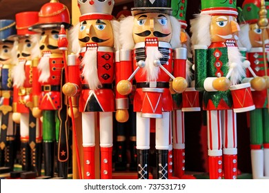 Colorful nutcrackers at a traditional Christmas market in Salzburg, Austria.