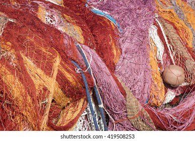 Colorful nylon fishing nets