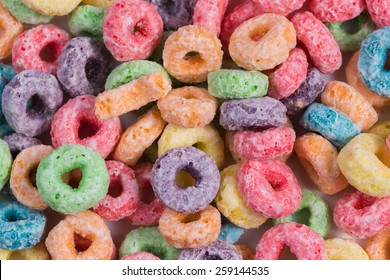 Colorful O shaped cereal background
