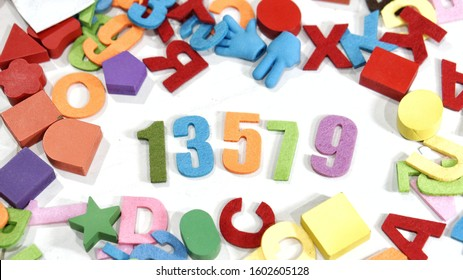 Colorful odd number on white background with shadow