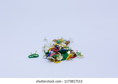 Colorful office elastic Thumbtack on a white background - Collection supplies