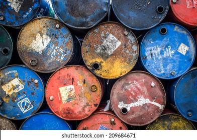 Colorful oil barrels backgrounds texture