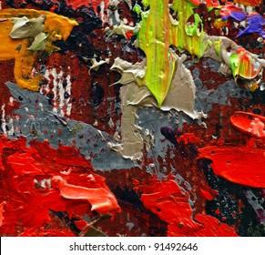 colorful oil painting texture closeup macro