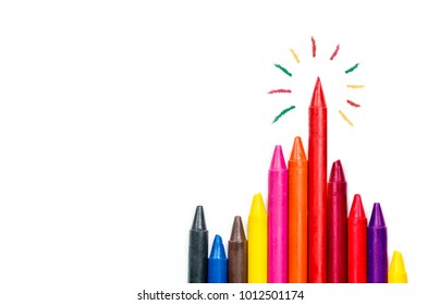 colorful oil pastel crayons on white background, Stand out concept