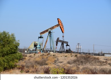 Colorful oil pumps of Kern County petroleum field, Bakersfield, California.