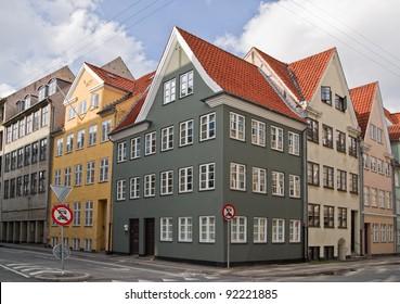 Colorful old apartment houses in Copenhagen, Denmark.