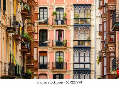 colorful old basque neighborhood at bilbao, Spain