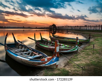 Colorful old boats on a lake in Myanmar