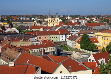 colorful old buildings and church cityscape Eger Hungary