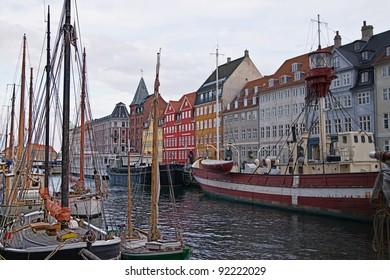 Colorful old houses in Copenhagen, Denmark.