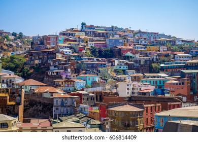 Colorful old houses in valparaiso city, Chile