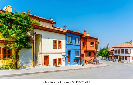 Colorful old Odunpazari streets view in Eskisehir. Eskisehir is a modern city in center of Anatolia.
